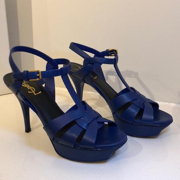 5c06759f18b Yves Saint Laurent Shoes | Ysl Blue Tribute 75 Sandals | Poshmark